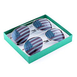 2-Pack American Flag Aviator Sunglasses Gift Box