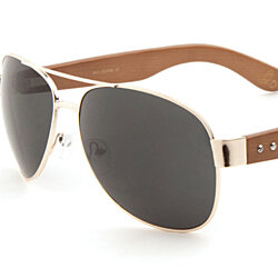 0a918a821a EKO Large Aviator Sunglasses Wooden Temples Metal Frame