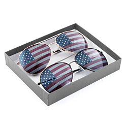 Gold & Black American Flag Aviator Sunglasses Gift Box
