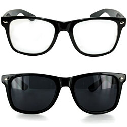 Pack of 2 Black Frame Dark Lens Sunglasses & Clear Lens Glasses
