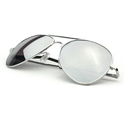Pack of 2 Classic Chrome Silver Aviator Mirror Lens