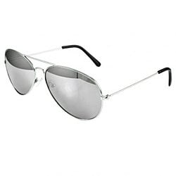 Pack of 2 Small Silver Aviator Sunglasses Mirror Lens
