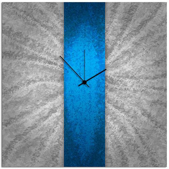 Buy Modern Wall Clock Decor   U0027Blue Stripe Clocku0027 22x22 In.   Contemporary Blue  Wall Clock   Large Metal Clock By Modern Crowd On Dot U0026 Bo