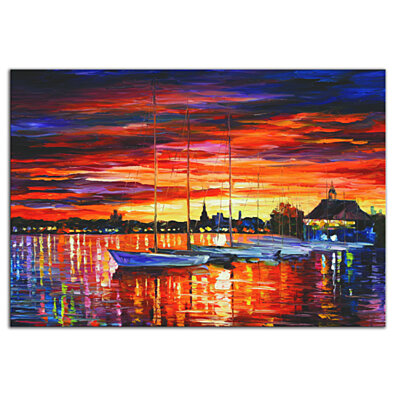 Colorful Boat Art 'Helsinki Sailboats at Yacht Club' Contemporary Sunset Harbor Artwork, Modern Ocean Decor, Nautical Metal Giclee Painting