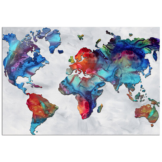 Colorful World Map Art Beauty Of Color V2 3 Rainbow Map Artwork Abstract Earth Global Art Modern Metal Painting Giclee Megan Du