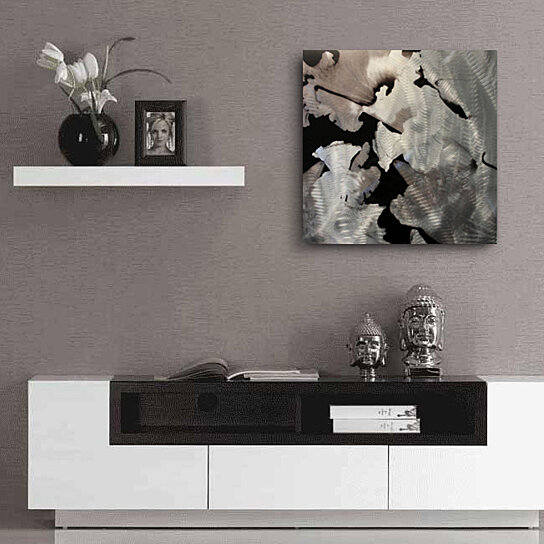 Buy contemporary metal wall art 39 flower 39 22x22 in for Modern silver home accessories