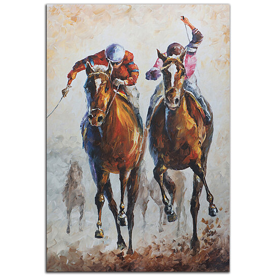 Race Track Wall Art >> Buy Horse Racing Art 'Contenders' Metal Giclee Modern Race Track Artwork, Abstract Horses ...
