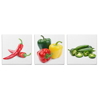 Kitchen Decor 'Peppers' Giclée Print on Canvas - Brushstroke Style Wall Art - Chili, Bell & Jalepeño Pepper Painting - Food Artwork