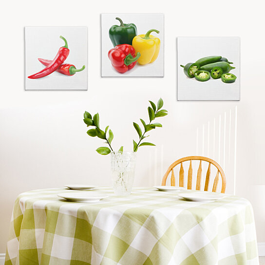 Chili Pepper Kitchen Curtains: Buy Kitchen Decor 'Peppers' Giclee Print On Canvas
