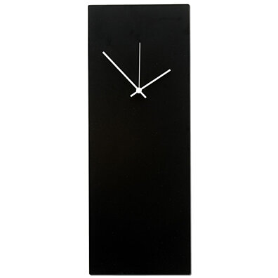 "Minimalist Art 'Blackout White Clock Large' - 8.25""x22"" - Made in USA Kitchen Clocks, Black Metal Industrial Wall Clock"