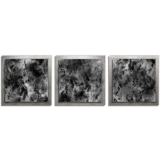 Buy Minimalist Metal Wall Art Slate Essence 38x12 In Contemporary Urban Decor Black Grey White Masculine By Modern Crowd On Dot Bo