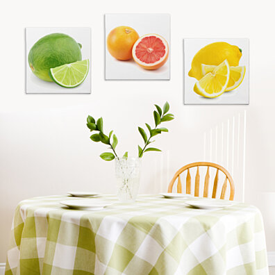 Modern Kitchen Art 'Citrus Zest' Food Painting - Brushstroke Giclee Print on Canvas - Lime, Grapefruit and Lemon - Bright Contemporar