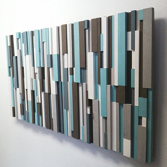 Modern Wood Art Cottage Chic Wood Strip Artwork Wooden Wall Art In Turquoise Brown Gray White Charcoal