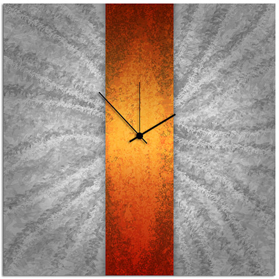 Buy Modern Wall Clock Orange Stripe Clock 22x22 In