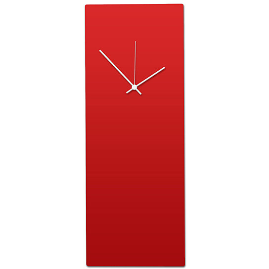 Redout White Clock Large Modern Metal Wall Minimalist Red