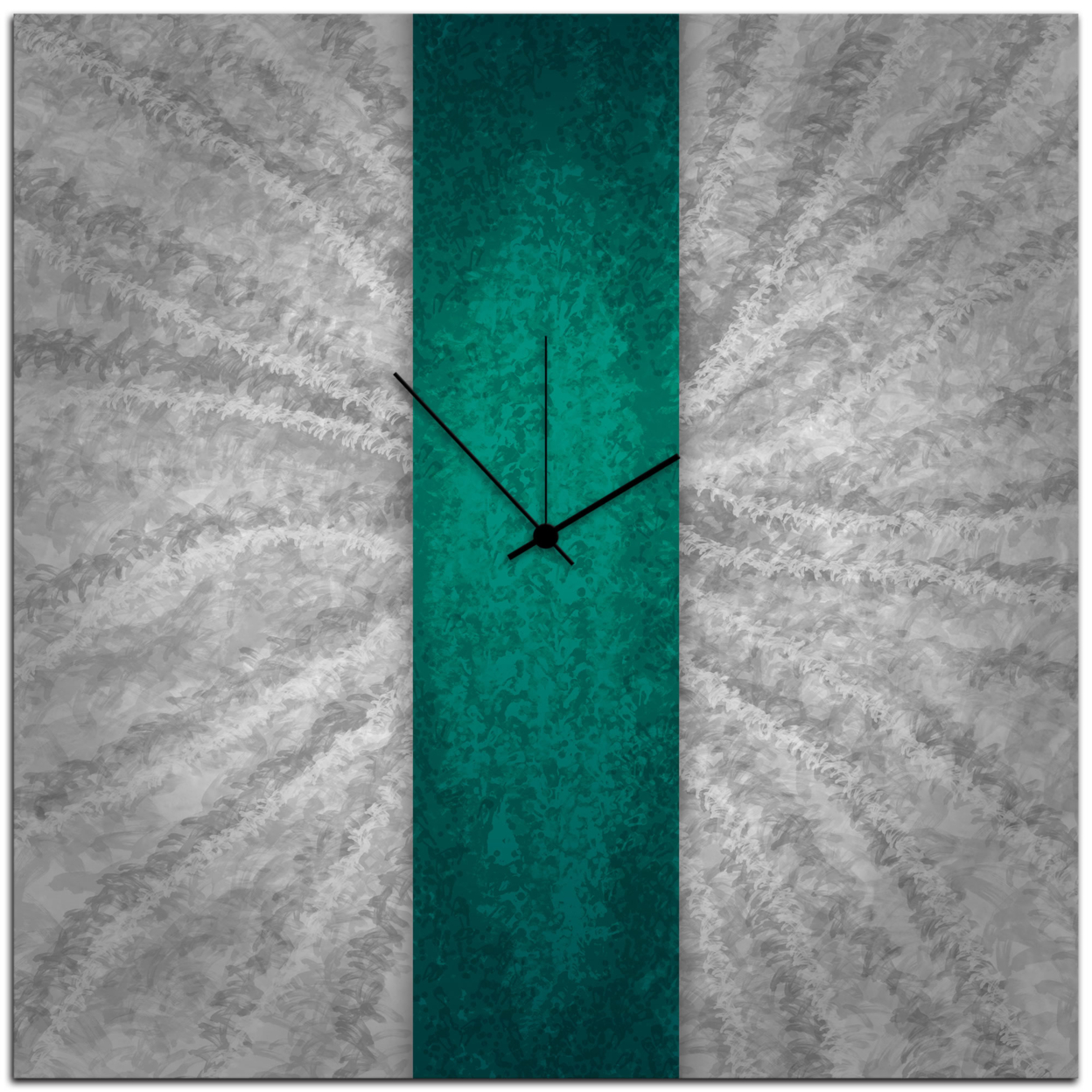 Teal Stripe Clock   Contemporary Turquoise Metal Wall Decor 566a65a98f3d6f58488b59ad