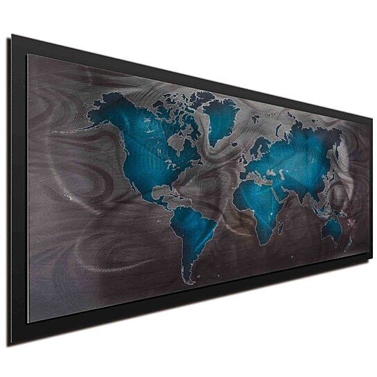 Buy travel art map artwork bluepewter land sea 48x19in buy travel art map artwork bluepewter land sea 48x19in wow factor home office art world map art by modern crowd on dot bo gumiabroncs Gallery