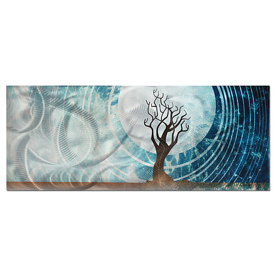 Twilight Abstract Tree Art Cool Color Tones Blue Silver Brown Earth Painting Modern Landscape Design By Crowd On Dot Bo