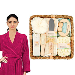 7-Piece Bath Set Spa Gift Set In Basket Bathroom Accessories