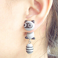 Clinging Cute Civet Cats Two-Part Earrings