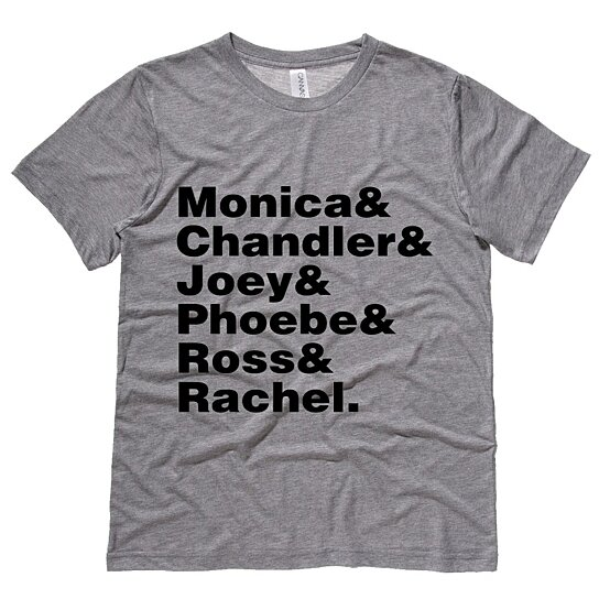 Buy Friends Cast Names Mens Tee Shirt by Moment Gear on ...  Buy Friends Cas...