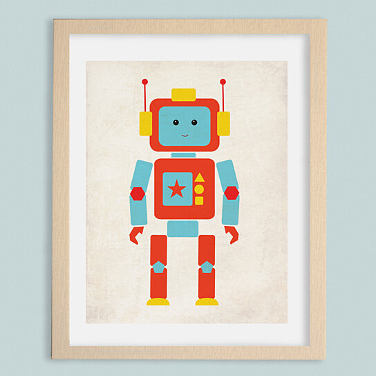 Buy shapes robot nursery art print by monkie birdie by for Robot baby room decor