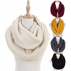 Women Winter Knit Infinity Scarf Circle Loop Scarf Beanie Set Thick Neck Warmer Scarf