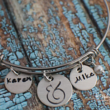 Personalized Bracelet - Adjustable Charm Bracelet - Hand Stamped Bracelet - Hand Stamped Jewelry - Name and Ampersand - And Jewelry