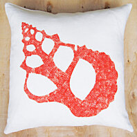 "Hand Printed Coral & White Sea Shell Linen Pillow 20"" x 20"""