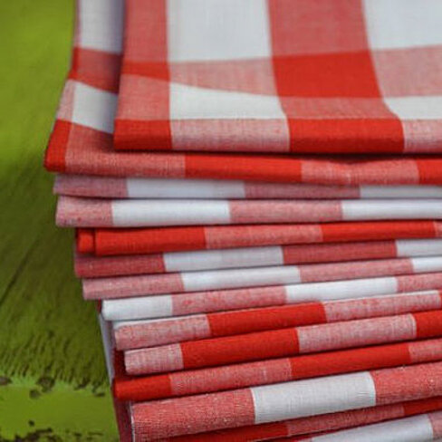 Red and White Gingham Check 100% Cotton Napkins (Set of 6)
