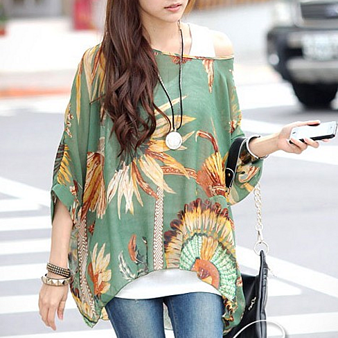 Chiffon Tunic in Feather Print - One Size Fits All