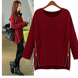 Sweater for Women with side zipper design