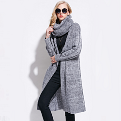 Women's Mid Length Cardigan with attached scarf