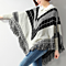 Cotton-Blend Fringe Knit Poncho Sweater