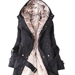 Women's trench coat with removable faux fur lining