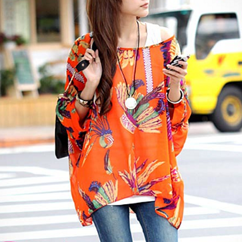 Tropical Print Chiffon Tunic - One Size Fits All