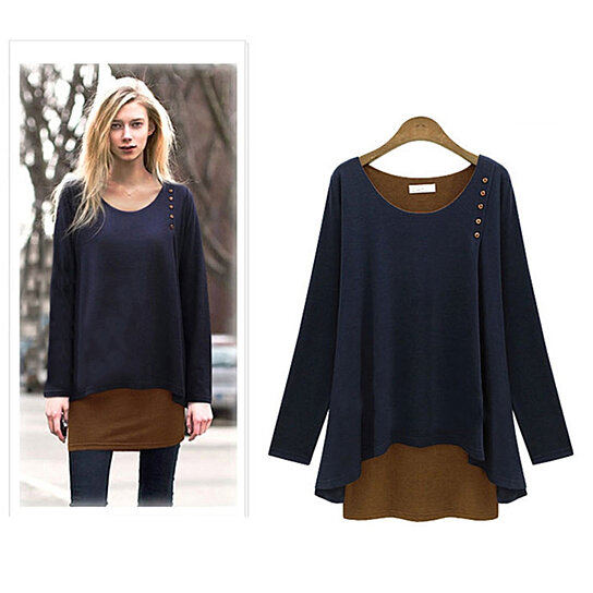 Buy Layered Two Tone Tunic Top By Myfashionshop On Opensky