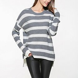 Womens Casual Street Style Striped Sweater