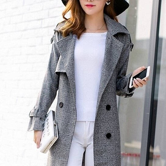 Buy Womens Houndstooth Trench Coat By Myfashionshop On Opensky
