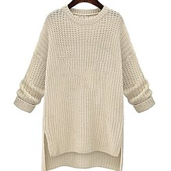 Womens Long Round Neck Sweater