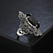 Black Oval Crystal Marcasite Ring