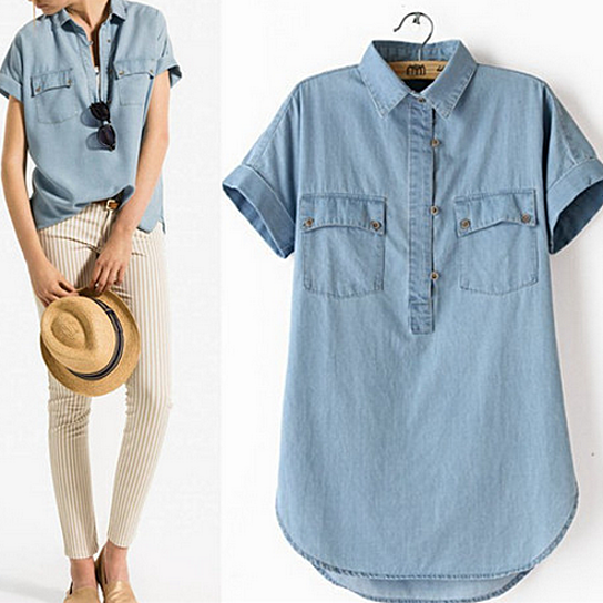 Buy Vintage Chambray Half Button Shirt - Clearance Sale by MyFashionVille on OpenSky
