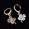 Crystal Flower Dangle Drop Earrings