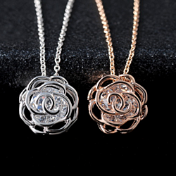 Crystal in a Rose Pendant Necklace