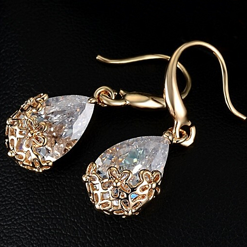 Special: Faceted Crystal Teardrop Earrings / Necklace