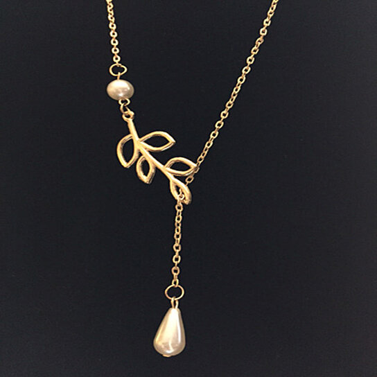 Pearl Necklace Styles: Buy Pearl Drop And Leaf Lariat Style Necklace By
