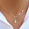 Gold Plated Freshwater Pearl & Leaf Lariat Necklace, Mult. Finishes