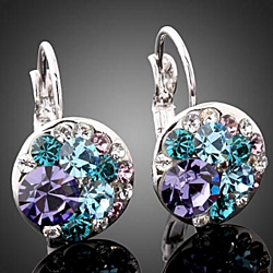 Periwinkle Drop Earrings in Platinum Plated or 18K Italian Rose Gold
