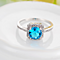 Platinum-Plated Blue Cubic Zirconia Stone Ring