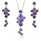 Cascading Purple  Crystals Necklace Earrings Set